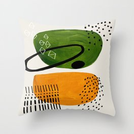 Mid Century Modern Abstract Colorful Art Patterns Olive Green Yellow Ochre Orbit Geometric Objects Throw Pillow