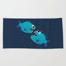Gossiping Blue Piranha Fish Beach Towel