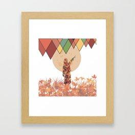 Flower girl and the moon Framed Art Print