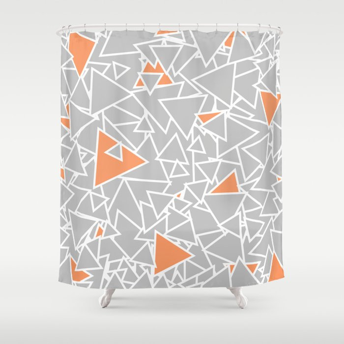 A Bazillion Triangles Orange Gray Shower Curtain By Beththompson