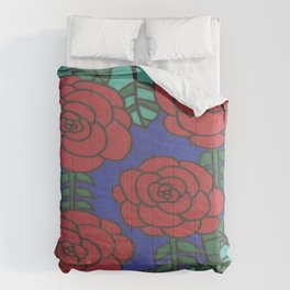 Red Roses Stained Glass Drawing Comforters
