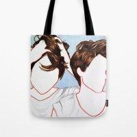 tegan and sara Tote Bags featuring Tegan and Sara by Kim Leutwyler