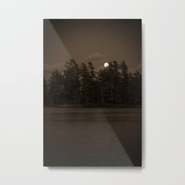 Black and White Moonrise Metal Print