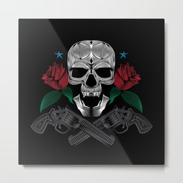 Skull and Guns Metal Print