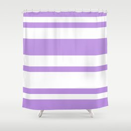 Mixed Horizontal Stripes - White and Light Violet Shower Curtain