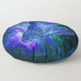Triangle Blue Space With Nebula Floor Pillow