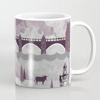 travel poster Mugs featuring Edinburgh Travel Poster Illustration by ClaireIllustrations
