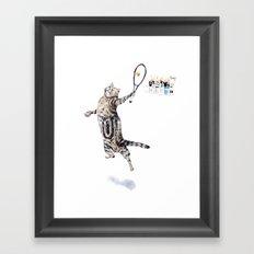Cat Playing Tennis Framed Art Print