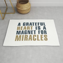 A Grateful Heart is a Magnet for Miracles Typography Rug