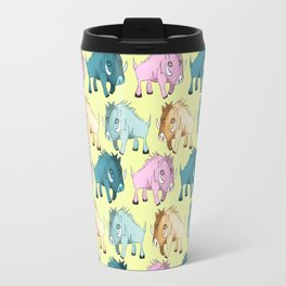 Cute Yellow Kawaii Wild Boar Watercolor Pattern Print Travel Mug