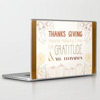 thanksgiving Laptop & iPad Skins featuring ThanksGiving by joannaciolek