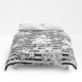 Elegant black white vintage floral modern stripes Comforters