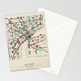 Colorful City Maps: Detroit, Michigan Stationery Cards