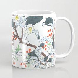 Three Daurian Starlings Near The Little Spring - Antique Japanese Woodcut Print Art By Kono Bairei Coffee Mug
