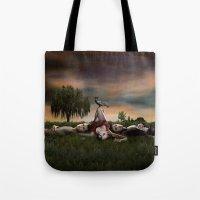 vampire diaries Tote Bags featuring Vampire Diaries by Brigitta
