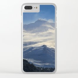 """Brave mountains"". Into the windy storm Clear iPhone Case"