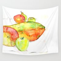 fruits Wall Tapestries featuring watercolor fruits by crocomila