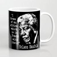 mandela Mugs featuring Mandela by PsychoBudgie