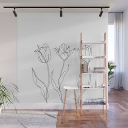 Botanical illustration line drawing - Three Tulips Wall Mural