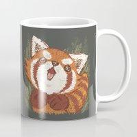 red panda Mugs featuring Panda by Toru Sanogawa