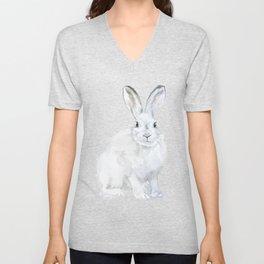 Arctic Rabbit Watercolor Unisex V-Neck
