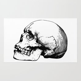 Side view of human skull illustration Rug