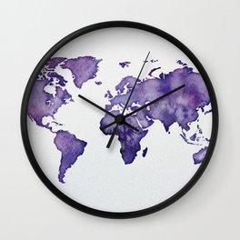 Purple World Map 01 Wall Clock