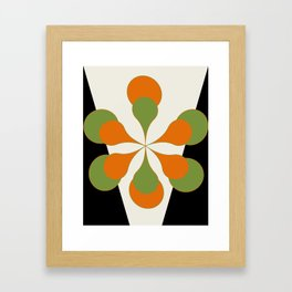 Mid-Century Modern Art 1.4 - Green & Orange Flower Framed Art Print