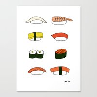 sushi Canvas Prints featuring Sushi by emi ito illustration