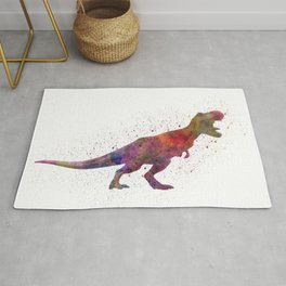 Tyrannosaurus rex dinosaur in watercolor Rug