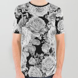 ROSES ON DARK BACKGROUND All Over Graphic Tee