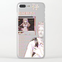 YOU WILL NOT SURVIVE EVANGELION - SAD JAPANESE ANIME AESTHETIC Clear iPhone Case