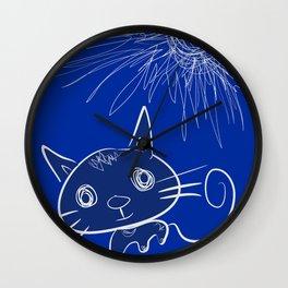 blue cat under the sun Wall Clock