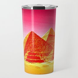 Pyramids At Giza Pink Sunset Travel Mug