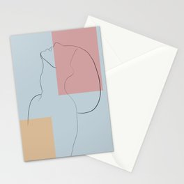 Side view line portrait abstract  Stationery Cards