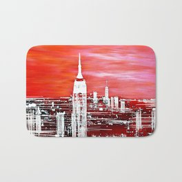 Abstract Red In The City Design Bath Mat