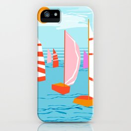 Quepasa - memphis throwback retro minimal modern neon boating yacht club sailing summer sport iPhone Case