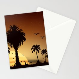Sunsets and sunrises over the savanna with palm trees Stationery Cards