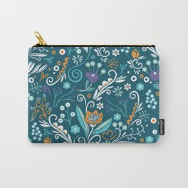 Flower circle pattern, blue Carry-All Pouch