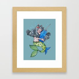 narwhal and mermaid best friends forever Framed Art Print