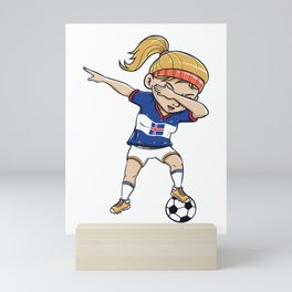 Dabbing Soccer Player Funny Iceland Fan design girl Mini Art Print