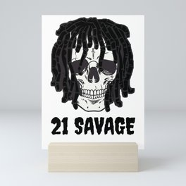21Savage skeleton rapper Mini Art Print