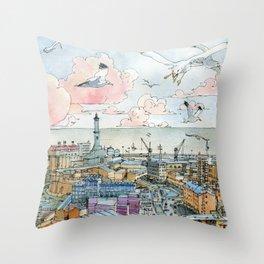 Genova e la Lanterna Throw Pillow