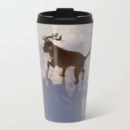 """DASHING THROUGH THE SNOW ...Christmas PLaY-Do'LPH"" from the photo series""My dog, PLaY-DoH"" Travel Mug"