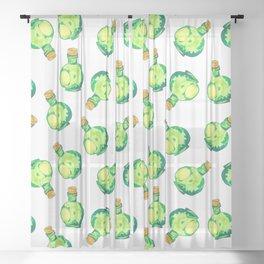 Green Watercolor Bottles (Tossed Pattern) Sheer Curtain