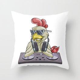 Rooster DJ Music Throw Pillow