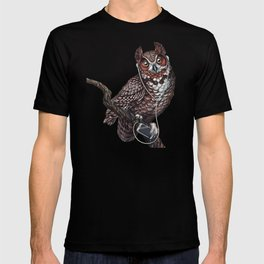 Great Horned Owl with Headphones T-shirt