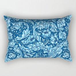 Art Nouveau Acanthus Leaves and Flowers, Sky Blue Rectangular Pillow