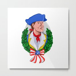 American Patriot Wreath Watercolor Retro Metal Print