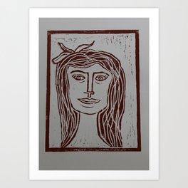 Portrait a La Picasso V - Lino Cut Art Print